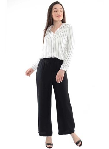 Reyon Bel Lastikli Salaş Kadın Pantolon Siyah Siyah